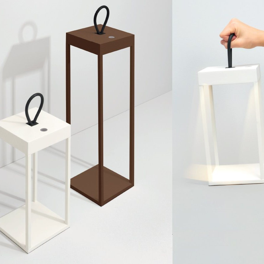 2 42713 Lampada da tavolo BIANCA a LED ricaricabile adatta internoesterno Dimmerabile H 35