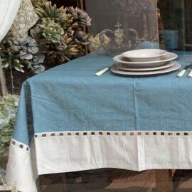 Tovaglia Antimacchia con balza in Lino Preziosa Luxury Home Ikebana