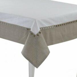 Tovaglia Antimacchia con balza in Lino Preziosa Luxury Home Ikebana colore bianco